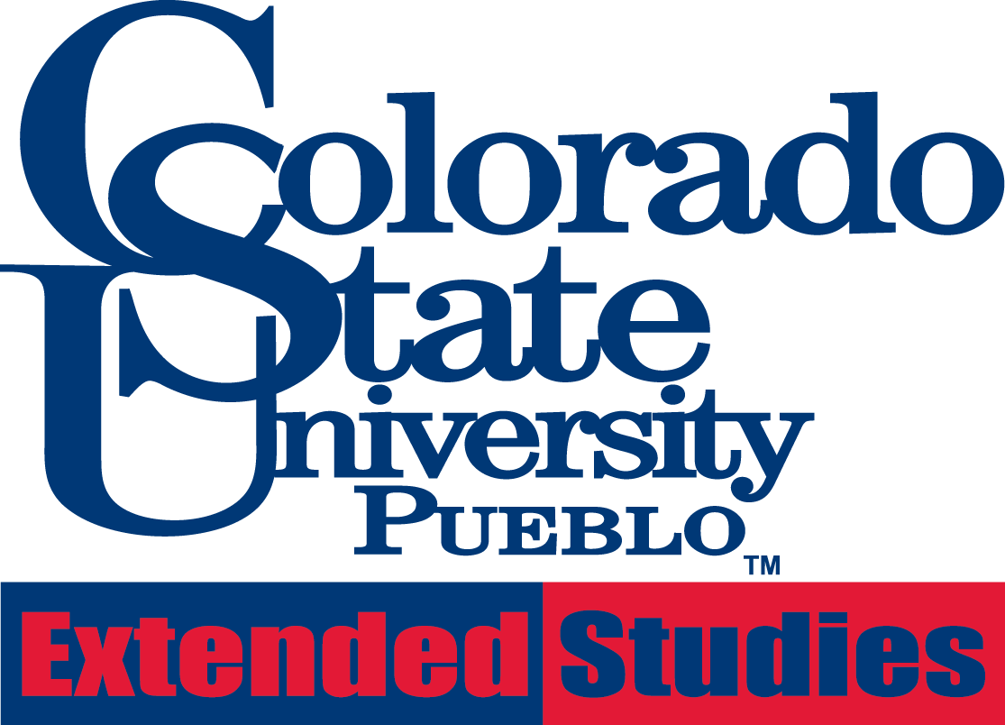 Extended Studies logo Blue red lettering